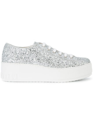 Miu Miu glitter low-top sneakers (zilver)