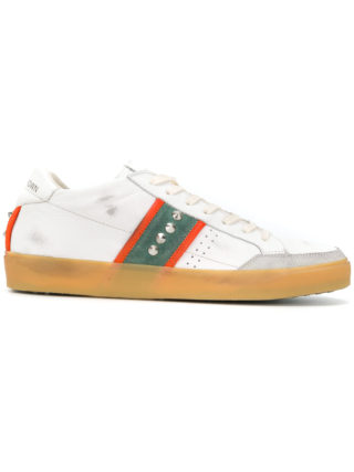 Leather Crown side stripes studded sneakers - White