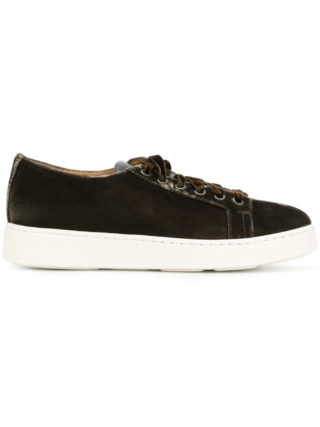 Santoni velvet lace-up sneakers (bruin)