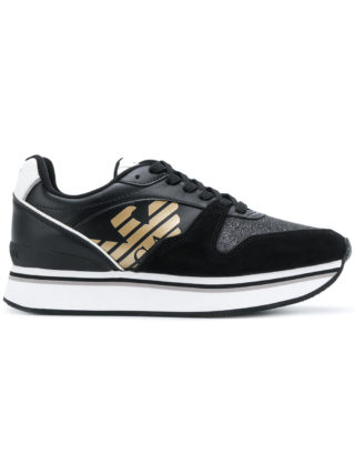 Emporio Armani flatform logo sneakers (zwart)