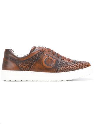 Salvatore Ferragamo woven Gancio sneakers (bruin)