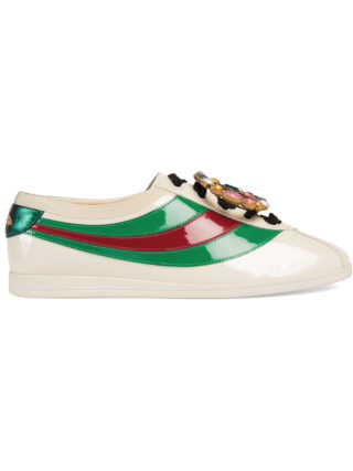 Gucci Falacer patent leather sneakers with Web - White