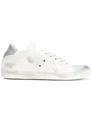 Leather Crown contrast toe sneakers (wit)