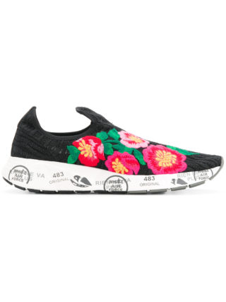 Premiata floral embroidered sneakers (zwart)