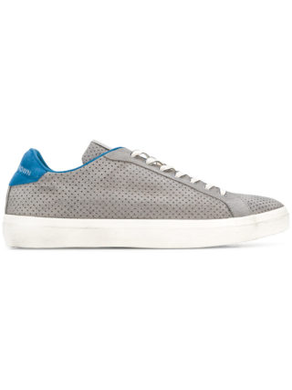 Leather Crown perforated lace-up sneakers (grijs)