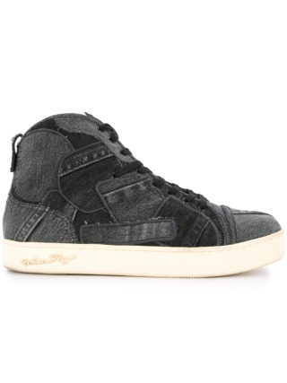 Roar patchwork high top sneakers (zwart)