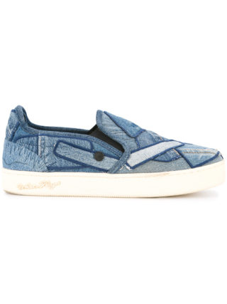 Roar denim patchwork skate shoes (blauw)