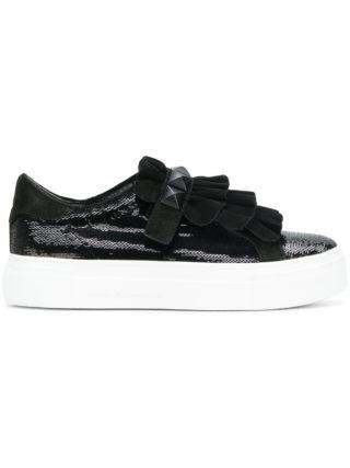 Kennel&Schmenger sequin and ruffle trim platform sneakers (zwart)