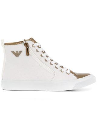 Emporio Armani metallic-trimmed hi-top sneakers (wit)