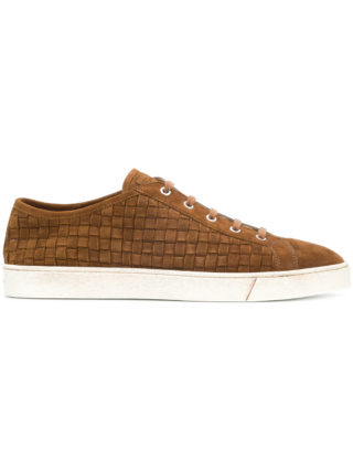 Santoni braided lace-up sneakers (bruin)