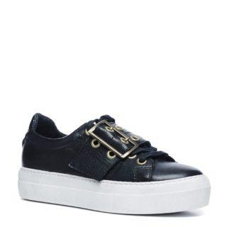 Sacha leren platform sneakers (zwart)
