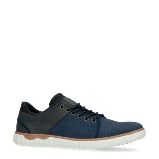 Manfield leren sneakers (blauw)