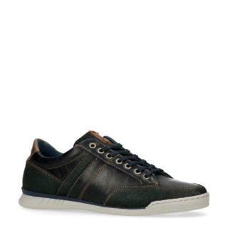 No Stress leren sneakers met suède marine (blauw)