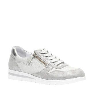 Hush Puppies metallic leren sneakers (zilver)