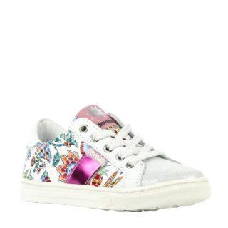 Develab 41566 leren sneakers met bloemen meisjes (wit)