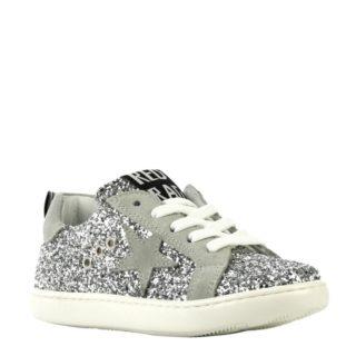 Red Rag leren sneakers met glitters meisjes (zilver)