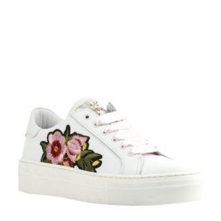 Develab leren sneakers met bloemen meisjes (wit)