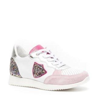 Groot leren sneakers met glitters meisjes (wit)