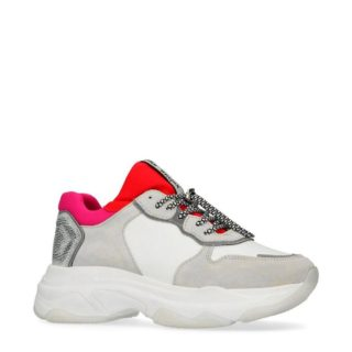 Bronx leren sneakers wit/rood (wit)