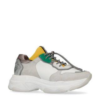 Bronx leren sneakers wit/geel (wit)