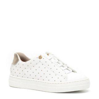 Groot leren sneakers met sterren meisjes (wit)