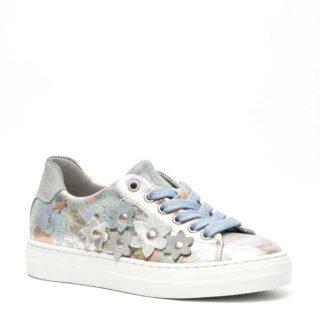 Groot metallic leren sneakers met bloemen meisjes (zilver)