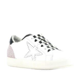 Mace leren sneakers met studs (wit)