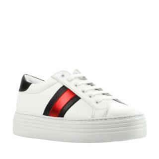 Mace leren sneakers met strepen (wit)