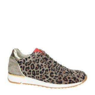 Aqa suède sneakers met luipaardprint (bruin)