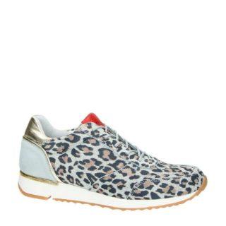 Aqa suède sneakers met luipaardprint (grijs)