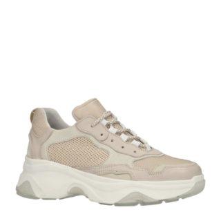 Sacha sneakers met leer beige (bruin)