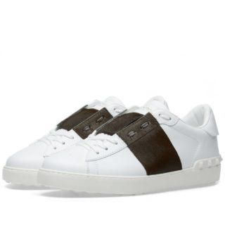 Valentino Pony Skin Open Low Top Sneaker (White)