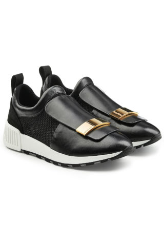 Sergio Rossi Leather Slip-On Sneakers (zwart)
