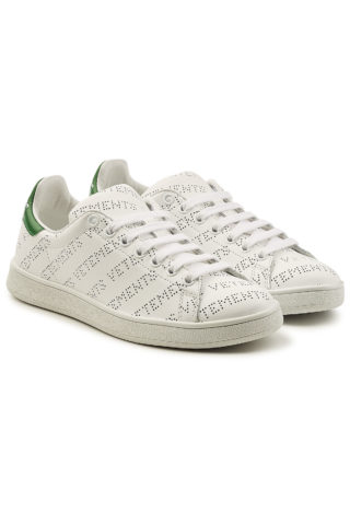 Vetements Perforated Logo Leather Sneakers #{lastAddedProduct.name} (wit)