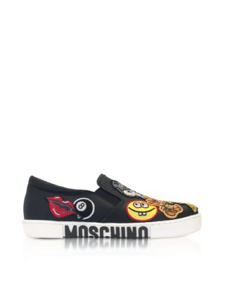 Moschino Moschino Black Leather Slip On Sneakers W-patches (zwart)