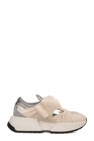 MM6 Maison Margiela Ivory-silver Metallic Faux Leather Slip On Wedge Sneakers (wit/zilver)