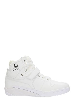 MASTERMIND WORLD MASTERMIND WORLD Skull Print Hi Top White Leather Sneakers (wit)