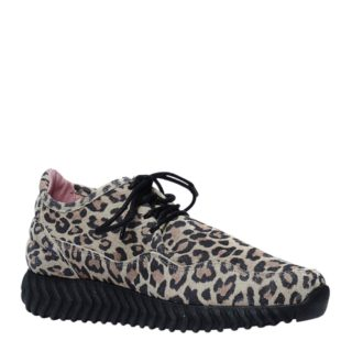 SPM for Sacha suède sneakers met luipaardprint (zwart)