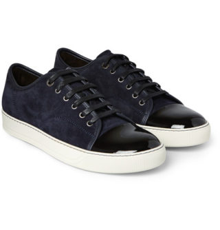 Lanvin Cap-toe Suede And Patent-leather Sneakers – Midnight blue