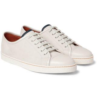 John Lobb Levah Cap-toe Brushed-leather Sneakers – Neutral