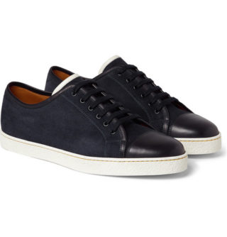 John Lobb Levah Cap-toe Suede And Leather Sneakers – Navy