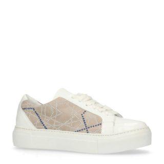 Manfield leren sneakers met studs (wit)