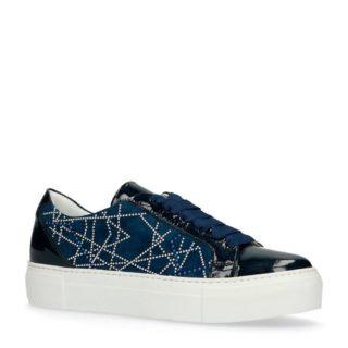 Manfield leren sneakers met studs (blauw)