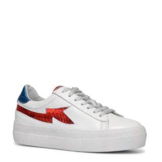 Sacha leren platform sneakers (wit)