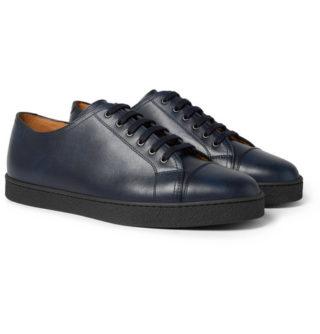 John Lobb Levah Cap-toe Leather Sneakers – Navy