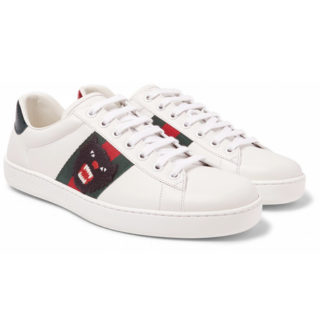 Gucci Ace Watersnake-trimmed Embellished Leather Sneakers – White