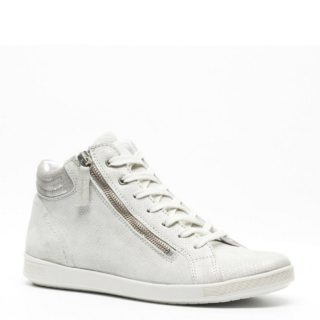 Hush Puppies metallic leren sneakers (zilver)