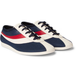 Gucci Competition Embroidered Leather And Mesh Sneakers – Navy