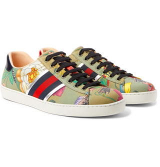 Gucci Ace Leather And Webbing-trimmed Printed Canvas Sneakers – Green