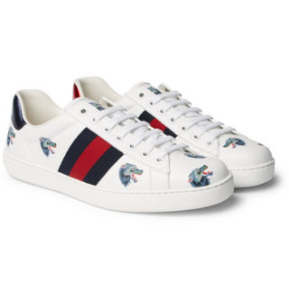 Gucci Ace Printed Leather Sneakers – White